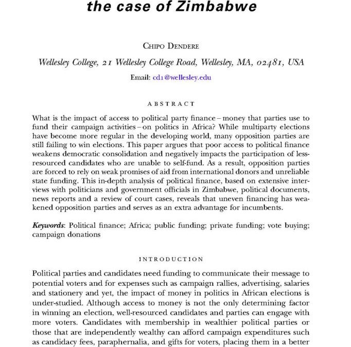 Financing political parties in Africa: the case of Zimbabwe